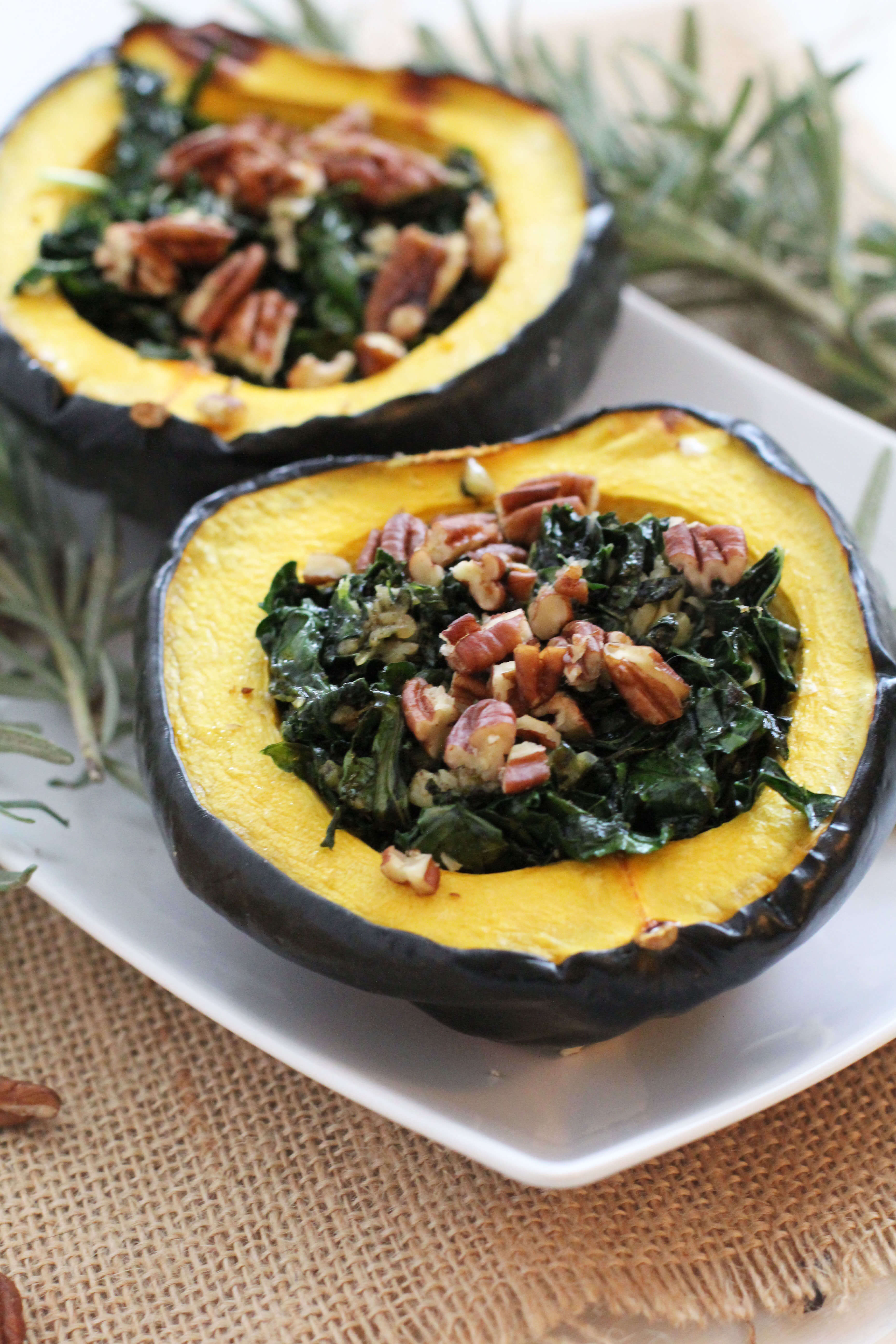 Garlic and Kale Acorn Squash - Jessi's Kitchen