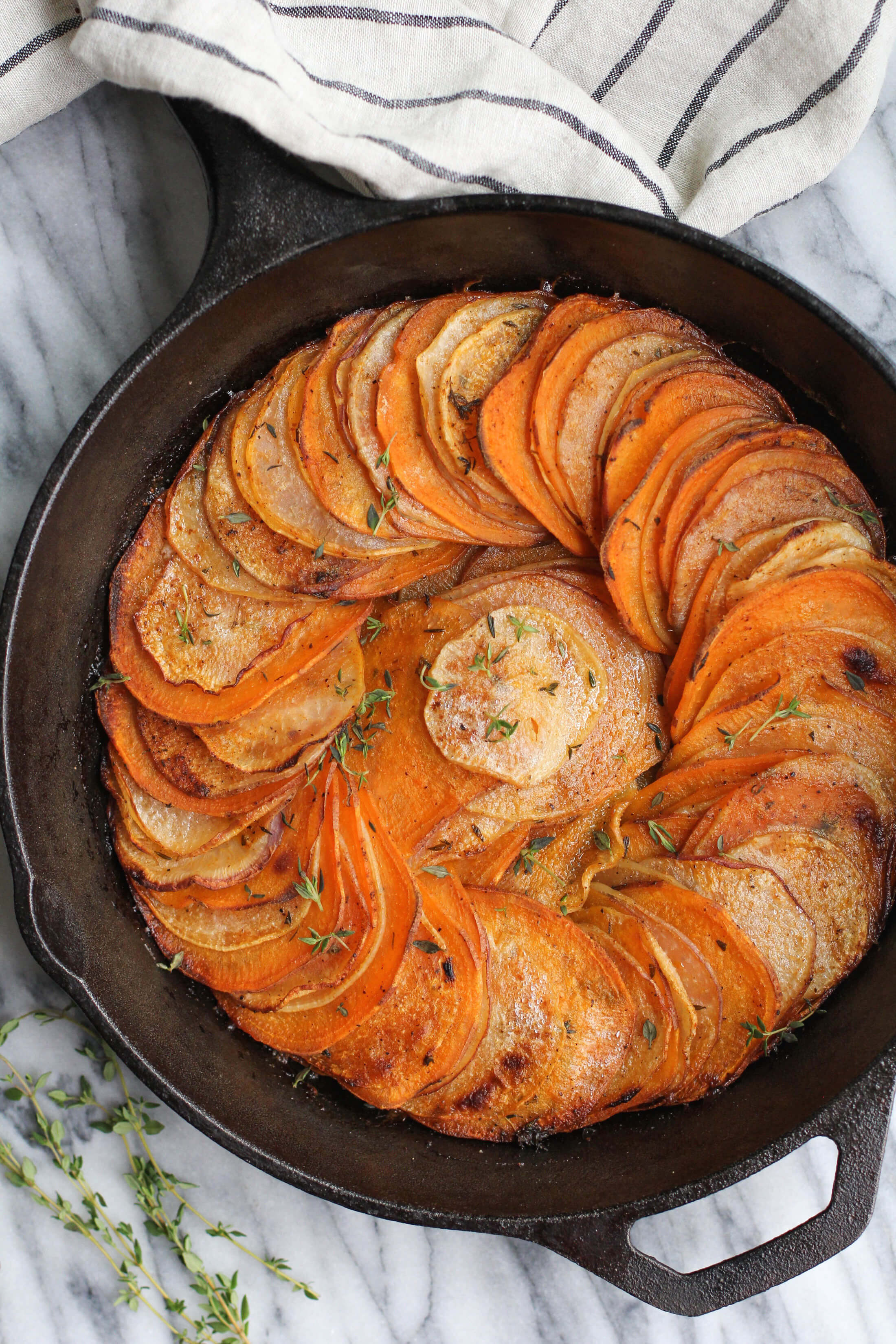 Herb Roasted Sweet Potato and Turnip Skillet - Jessi's Kitchen