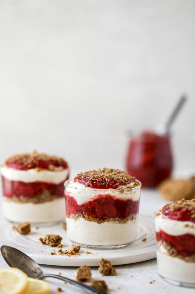Individual cups with Vegan Lemon Mousse and Berry sauce: Jessi's Kitchen